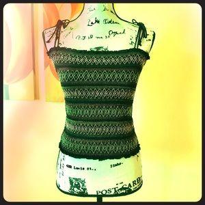 BCBGirls Smocked Shoulder Tie Top